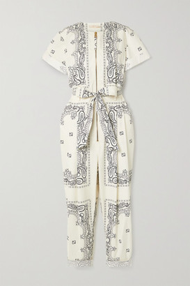 Tory Burch Belted Printed Cotton-voile Jumpsuit - Ivory