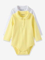 Vertbaudet Baby Girls Pack of 2 Long-Sleeved Bodysuits with Peter Pan Collar
