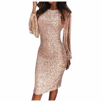 Younthone Women's Slim Dress Sexy Solid Sequined Stitching Shining Club Sheath Long Sleeved Mini Dress Nightclub Dress Cocktail Prom Carnival Evening Party Wedding Bridesmaid Elegant Dress Pink