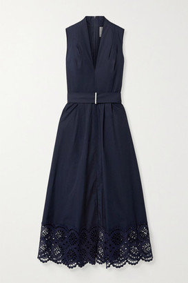 Lela Rose Belted Broderie Anglaise Cotton-blend Poplin Midi Dress - Navy