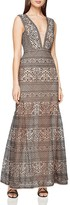 BCBGMAXAZRIA Deep V-Neck Lace Gown