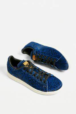 adidas Stan Smith Blue Leopard Print Trainers - blue UK 4 at Urban Outfitters
