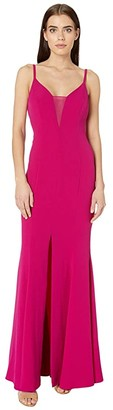 BCBGMAXAZRIA Sheer Inset Gown Dress (Vivia Fuchsia) Women's Dress