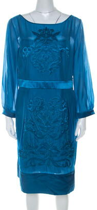 Philosophy di Alberta Ferretti Teal Blue Cut Out Applique Detail Silk Dress L