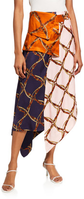 Jonathan Simkhai Saddle-Print Handkerchief Skirt