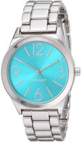 Nine West Women's NW/1663TQSB Turquoise Sunray Dial Silver-Tone Bracelet Watch