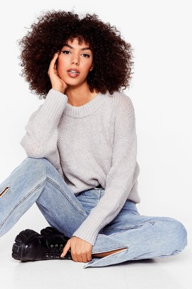 Nasty Gal Womens Knit the Big Time Crew Neck Sweater - Light Grey