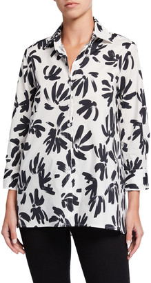Finley Thatched Floral Button-Down Trapeze Blouse