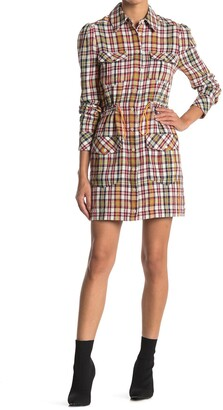 Veronica Beard Corinne Plaid Linen Blend Shirt Dress