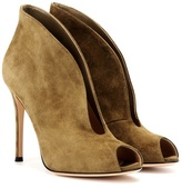 Gianvito Rossi Vamp Suede Peep-toe Ankle Boots