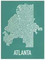 "Ork Posters Atlanta Neighborhoods Map, Emerald & White, 18"" x 24"""