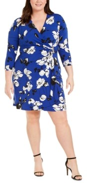 Calvin Klein Plus Size Floral-Print Faux-Wrap Dress