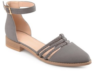 Brinley Co. Women's Faux Suede Ankle Wrap Braided Rope Flats