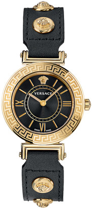 Versace Tribute 35mm Watch in Yellow Gold & Black | FWRD