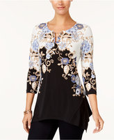 JM Collection Petite Printed Keyhole Chain Tunic, Created for Macy's