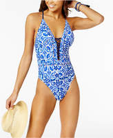 Nanette Lepore Talavera Mosaic Printed Strappy Plunging One-Piece Swimsuit