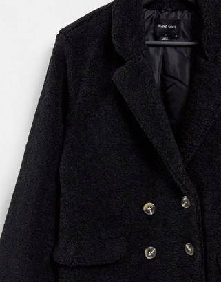 Brave Soul kyrati borg coat in black