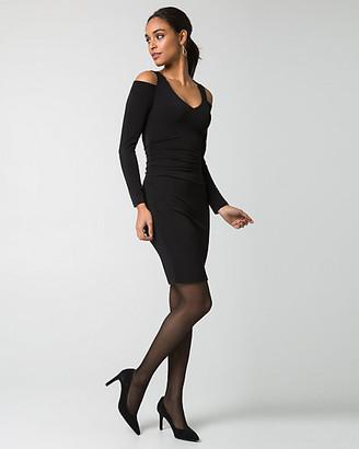 Le Château Knit V-Neck Cold Shoulder Dress