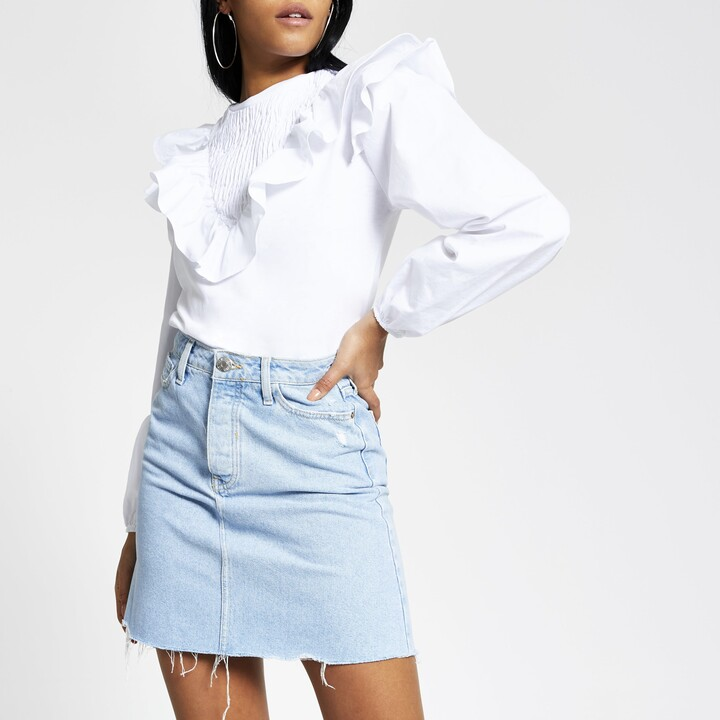 River Island Womens Light Blue denim mini skirt