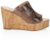 Stuart Weitzman Margarite Python-Embossed Leather Cork Wedge Mules