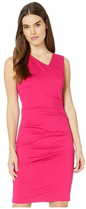 Nicole Miller Ponte Asymmetrical Sleeveless Dress (Fuchsia) Women's Dress
