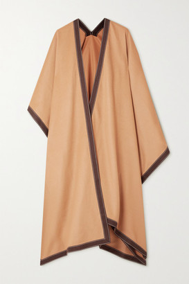 Balmain Draped Cotton-trimmed Wool And Cashmere-blend Cape - Camel
