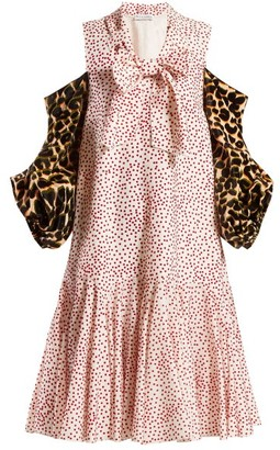 J.W.Anderson Leopard-print Sleeve Polka-dot Dress - Womens - Pink Multi