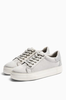 Topshop Womens Clover Grey Lace Up Trainers - Grey