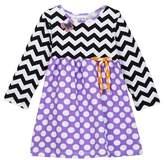 Flap Happy Long Sleeve Print Dress (Baby Girls, Toddler Girls, & Little Girls)