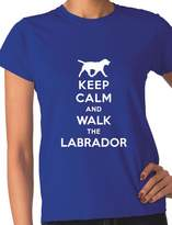 Print4u Keep Calm Walk The Labrador KC Dog Lovers Gift Ladies T Shirt Unisex Fit Large