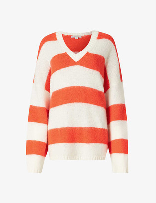 AllSaints Lou striped relaxed-fit wool-blend jumper