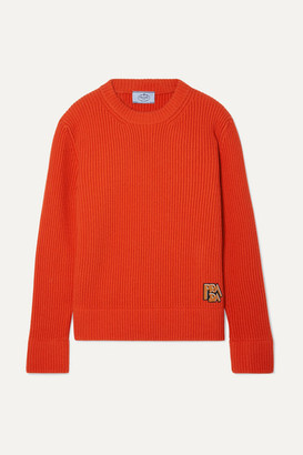 Prada Appliqued Ribbed Wool And Cashmere-blend Sweater - Orange