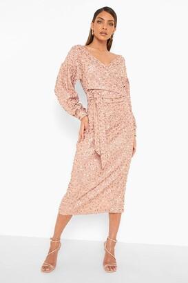 boohoo Bridesmaid Sequin Off The Shoulder Midi Dress