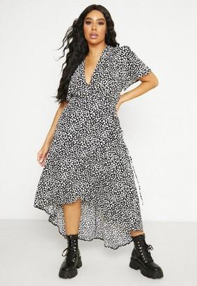 Missguided Plus Size Black Dalmatian Print High Low Wrap Midi Dress