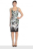 Milly Painted Floral Open Neck Slim Dress