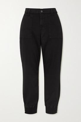 J Brand Arkin Cropped Cotton-blend Sateen Track Pants - Black