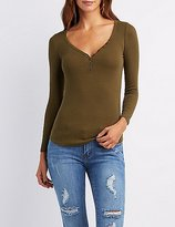 Charlotte Russe Ribbed Henley Top