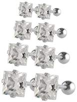 Charisma 3mm 4mm 5mm 6mm Stainless Steel Square Cubic Zirconia Helix Cartilage Tragus Ear Barbell Stud Earrings (Steel)