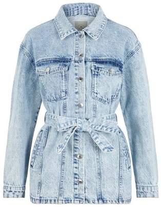 Vero Moda Oliva Ls Belted Long Denim Jacket - L