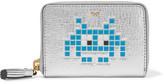 Anya Hindmarch Space Invaders Metallic Textured-leather Wallet - Silver