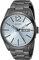 GUESS Men's U0657G1 Vintage Inspired Grey Watch with Sky Blue Dial, Day & Date Functions
