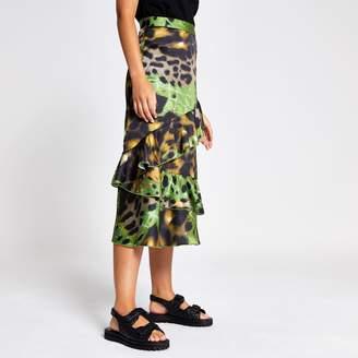 River Island Womens Green print frill midi skirt