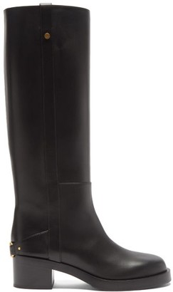 Valentino V-logo Strap Knee-high Leather Boots - Black