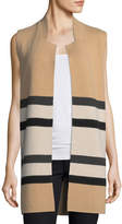 Neiman Marcus Double-Knit Striped Cashmere Vest