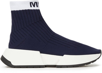 MM6 MAISON MARGIELA Jacquard-trimmed Stretch-knit Slip-on Sneakers