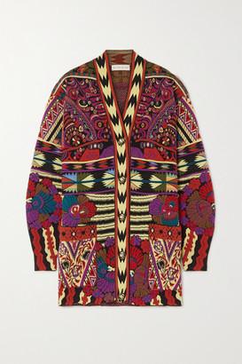 Etro Wool-blend Jacquard-knit Cardigan - Red
