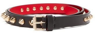 Christian Louboutin Loubispikes Studded Leather Belt - Black Gold