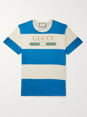 Gucci Logo-Print Striped Cotton And Hemp-Blend T-Shirt