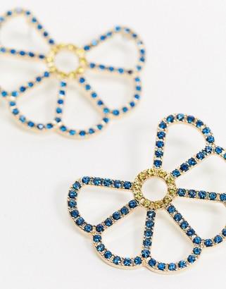 ASOS DESIGN hoop earrings in crystal flower design in gold tone