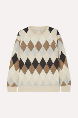 Brunello Cucinelli Sequin-embellished Argyle Wool, Cashmere And Silk-blend Sweater - Neutral